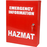 BRADY CABINET EMERGENCY INFORMATION HAZMAT SMALL RED