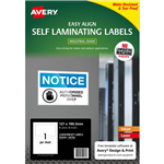AVERY 00750 SELF LAMINATING LABELS 1UP 127 X 190MM PACK 5