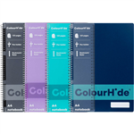 COLOURHIDE NOTEBOOK 120 PAGE A4 ASSORTED PACK 4