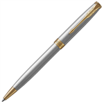 PARKER SONNET BALLPOINT PEN GOLD TRIM STAINLESS STEEL