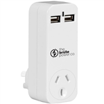 THE BRUTE POWER CO ADAPTOR 1 OUTLET WITH 2 USB PORTS