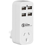 THE BRUTE POWER CO ADAPTOR 1 OUTLET WITH 4 USB PORTS