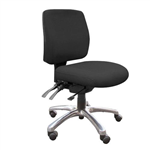 ALPHA MEDIUM BACK TYPIST CHAIR 4 LEVER HDUTY MECH RATCHET BACK WITH SEAT SLIDE POLISHED BASE NO ARMS