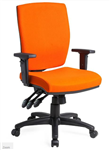 APOLLO TASK CHAIR HIGH BACK 3 LEVER HDUTY MECH  RATCHET BACK WITH ADJUSTABLE ARMS BLACK HI ARCH BASE