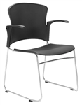 FOCUS HOSPITALITY SEAT BLACK PLASTIC WITH ARMS 120KG RATED