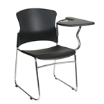 FOCUS HOSPITALITY SEAT BLACK PLASTIC WITH LEFT HAND TABLET ARM 120KG RATED