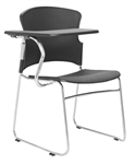 FOCUS HOSPITALITY SEAT BLACK PLASTIC WITH RIGHT HAND TABLET ARM 120KG RATED