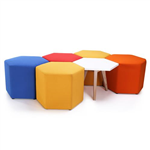 HONEYCOMB EXPRESS OTTOMAN 590 X 590 X 440H IN RED ORANGE YELLOW BLUE OR BLACK FABRIC