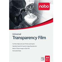 NOBO UNIVERSAL OHP TRANSPARENCY FILM 100 MICRON A4 BOX 25